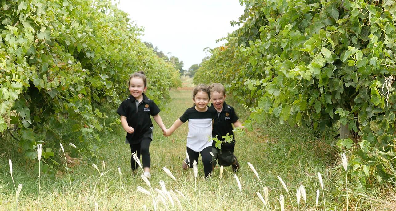 kids running through vineyard
